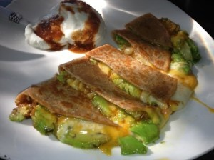 Avocado Quesadilla - 2 Whole Wheat Tortillas, 1 Avocado, 1/2 cup cheddar cheese, 2 tbsp. salsa or favorite hot sauce, 1 tsp olive oil and 1/2 cup Greek yogurt (for dipping)