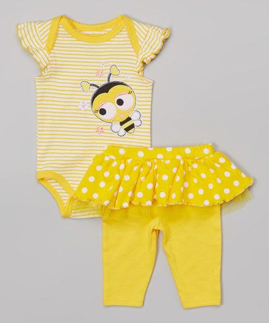 Another great find on #zulily! Yellow Bee Bodysuit & Skirted Leggings - Infant #zulilyfinds