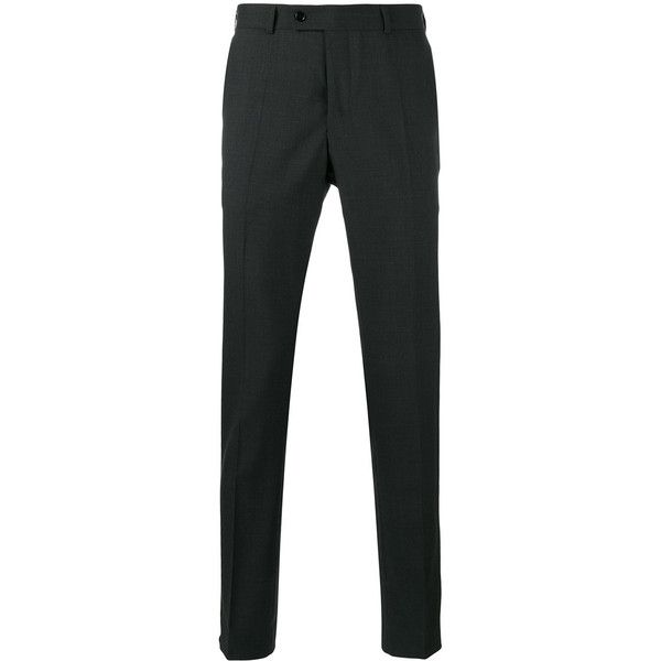 Mp  Massimo Piombo Skinny Tailored Trousers (18,025 INR) ❤ liked on Polyvore featuring men's fashion, men's clothing, men's pants, men's casual pants, mens tailored pants, mens wool pants, mens skinny fit dress pants, mens super skinny dress pants and mens skinny pants