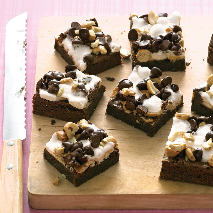 These chocolaty treats are topped with a chewy layer of marshmallows, nuts, and even more chocolate. The kids will hardly be able to wait until the brownies are cool!