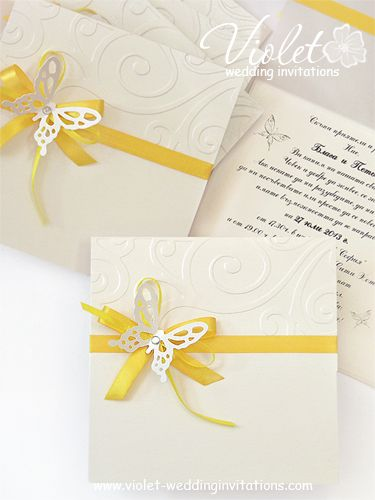 #butterfly #yellow #invitation from www.violet-weddinginvitations.com