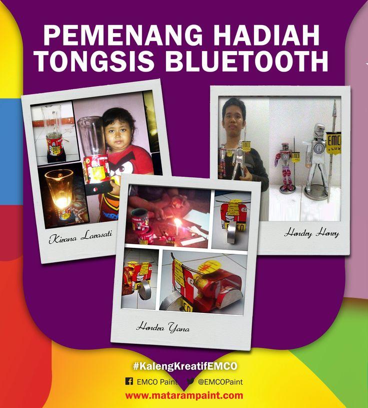 Berikut adalah 3 pemenang tongsis bluetooth #3  1. Kirana Larasati - Pasuruan 2. Hendri Henry – Jakarta Barat 3. Hendra Yana - Malang