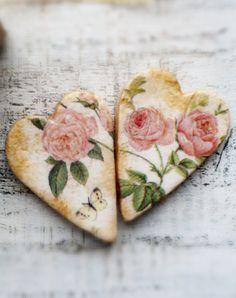 Salt dough hearts...use napkins..decoupage...jtr