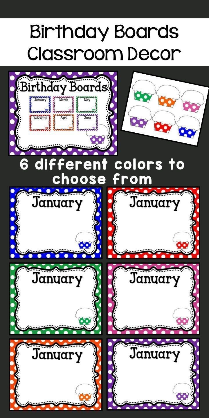 Cartoon classroom door - Birthday Board Classroom Decor Each Month Comes In 6 Different Polka Dot Colored Backgrounds
