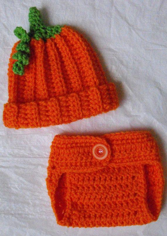 Newborn Crochet Pumpkin Hat and Diaper Cover Set on Etsy, $17.99