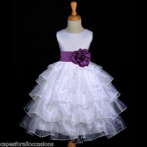White Plum Purple Pageant Wedding Tiered Organza Flower Girl Dress