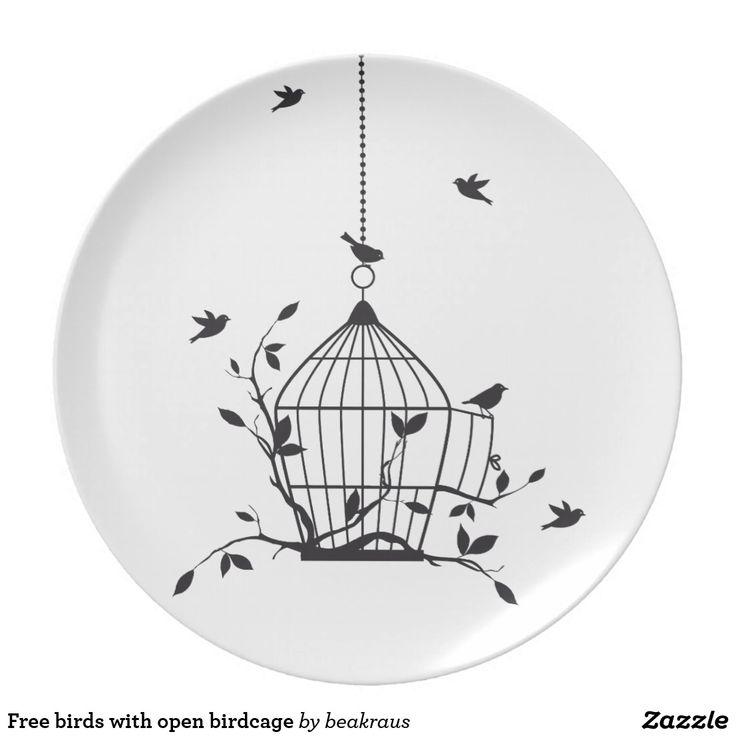 Free birds with open birdcage melamine plate | Zazzle.com
