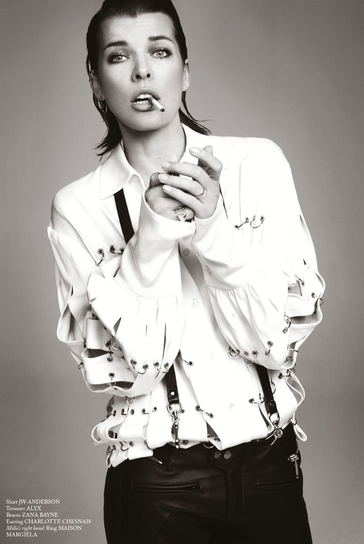 Milla Jovovich has a smoke in JW Anderson shirt and Alyx trousers for Glass Magazine Fall 2016 editorial