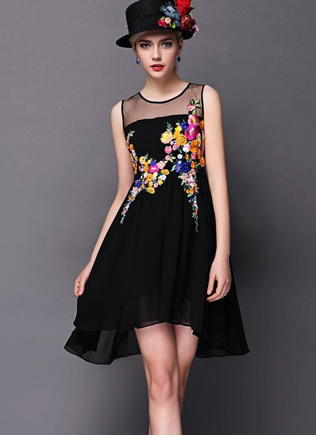 Black Contrast Sheer Mesh Yoke Embroidered Dress