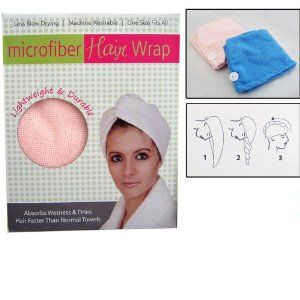 Microfiber Hair Wrap Towel Drying Bath Spa Head Cap Turban Wrap Twist Dry Shower by Kole Imports. $6.29. New Top Of The Line Microfiber Hair Wrap!! This wraps absorbs wetness and dries hair faster than normal towels. How to use simply slip over wet hair, then twist, loop and its there to stay. Hair wraps tapered design allows a perfect fit on your head and its lightweight. The hair wrap is attractive, functional and comfortable. Hand wash with dish soap in hot water o...