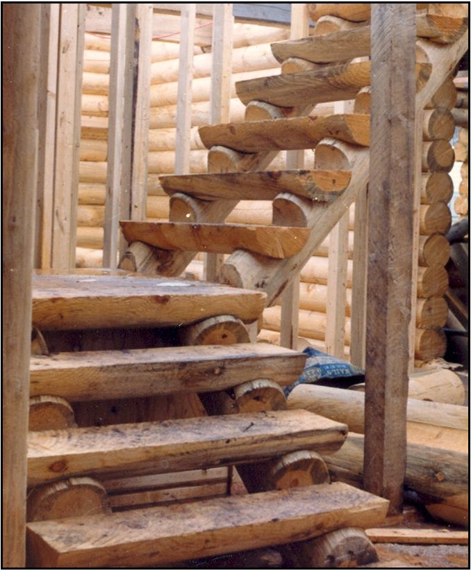 Best Log Stairs The Stair Stringer Are Precut And The Code For 400 x 300