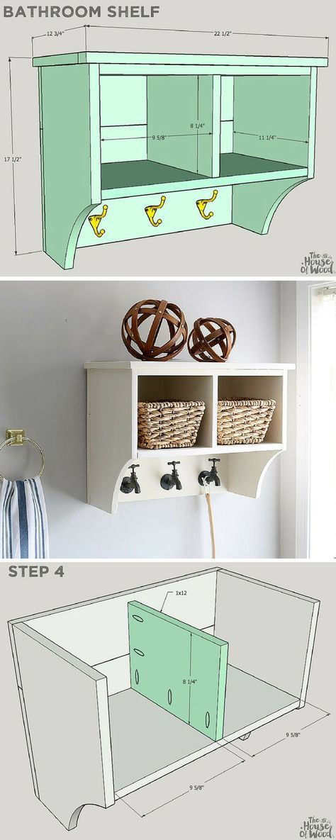 Featuring two deep cubbies and three hooks for hanging storage, this pretty shelf is perfect for your bathroom. Store hand towels, toilet paper, and other bath accessories in the cubbies or hide them away in wicker baskets. The faucet-shaped hooks add a whimsical touch to the whole project. FREE PLANS at buildsomething.com