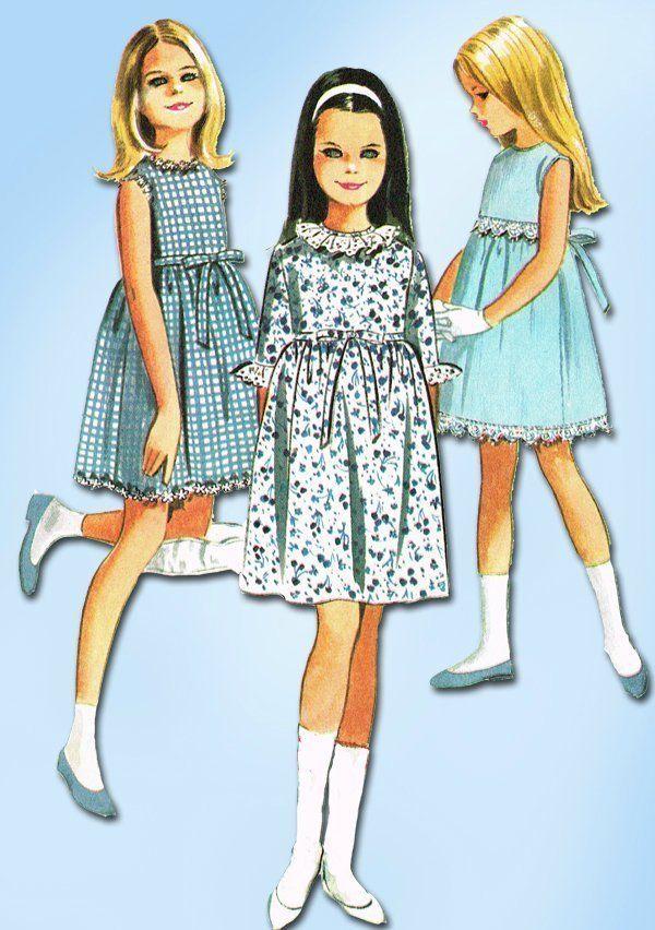 1960s Vintage Helen Lee Girl's Dress 1968 McCall's Sewing Pattern 8191 Sz 10 #McCalls