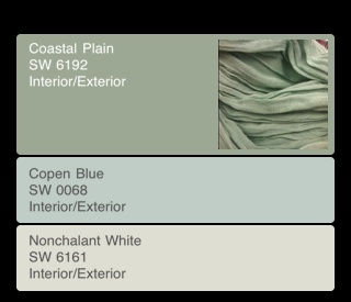 From Sherwin Williams Color Snap App.  Love it. Took a picture of my scarf - and it told me the matching paint color and suggested accent colors.
