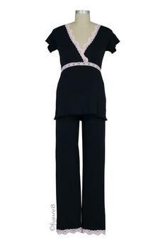 Ariel Pima Nursing Pajama Set in Black/Pink by Belabumbum with free shipping