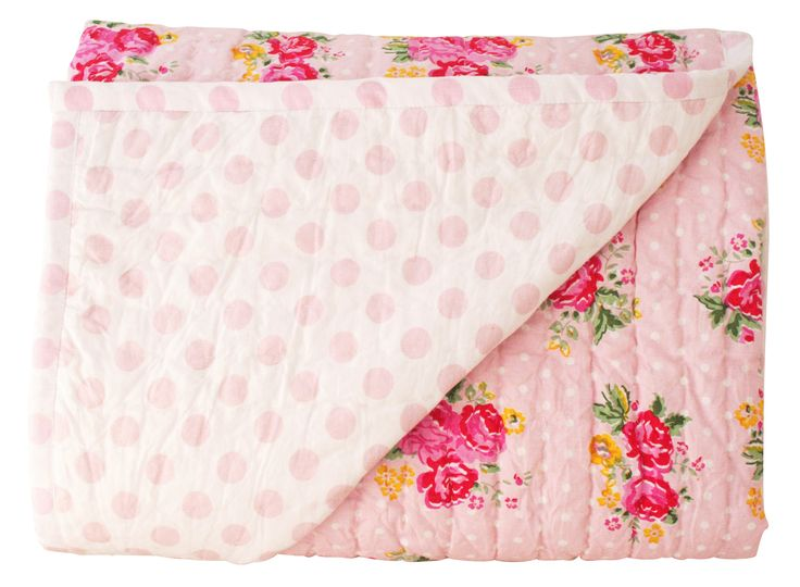 Alimrose Millie Reversible Cot Quilt Pink Rose