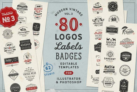 80 Modern Vintage Logos vol 3 by DISTRICT 62 STUDIO on @creativemarket