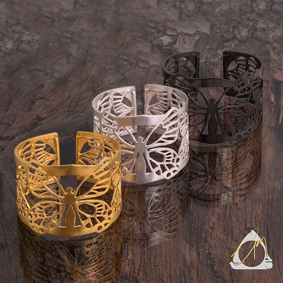 One of a kind open-back, handmade Butterfly cuff bracelet in gold, black or silver