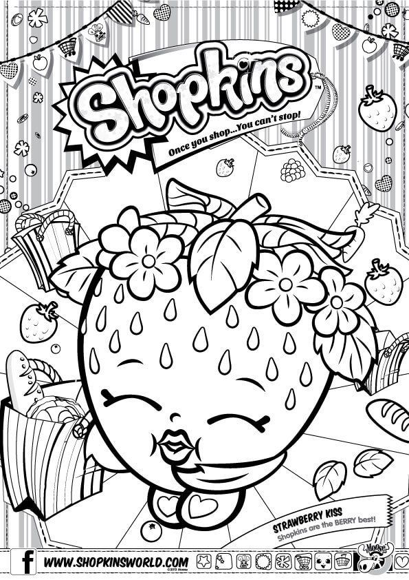 Shopkins Coloring Pages Season 1 Strawberry Kiss Shopkins Colouring Pages Shopkins Colouring Book Coloring Pages