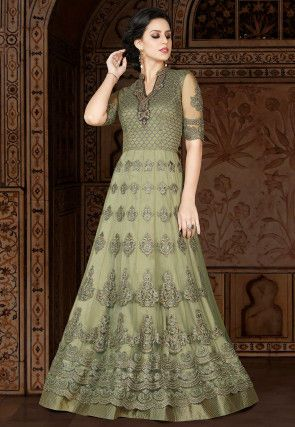 b58e4cfac378 Embroidered Net Abaya Style Suit in Olive Green in 2019
