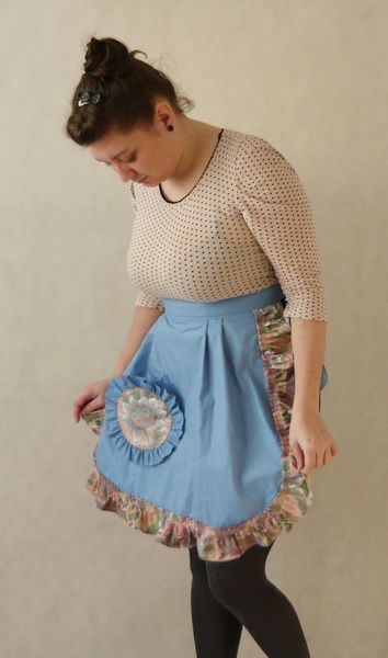 Vintage handmade Apron  from MariArt by DaWanda.com Kitchen apron made of cotton with polyester.  Decorated with big handy pocket.  Apron is blue with floral frill, by its cut adapts perfectly to the figure.  Is tied at the waist. #MariAndAnnieArt