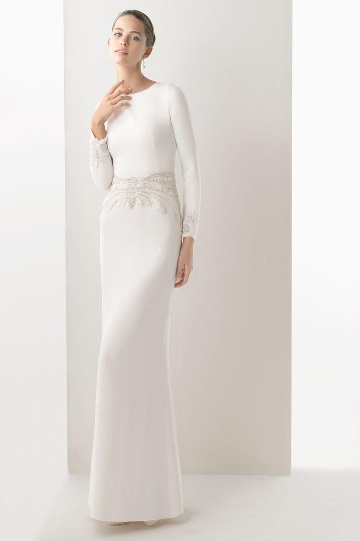 Simple Satin Long Sleeves Sheath Embroidery Cheap Wedding Dress UK