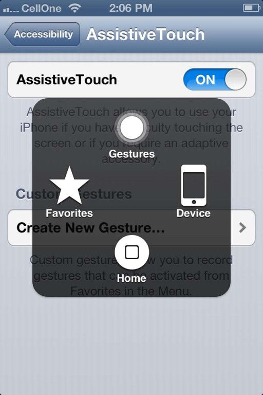 iOS 6 AssistiveTouch Gestures