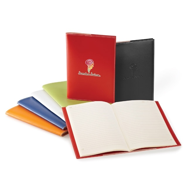 ST4161 Bradford Vinyl Cover & Saddle-Stitched Notebook - Imprint Method: Debossed (Additional location) - 4-Color Process Option - Colors: blue, black, red, green, orange or white - **Notebooks are made in North America with 100% recycled materials.