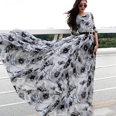 verragee женской моды элегантный печати шифон качели платье макси (с поясом) – RUB p. 2 874,77
