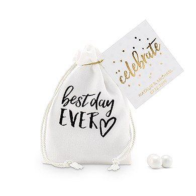 'best day ever' Print Muslin Drawstring Favor Bag - Small