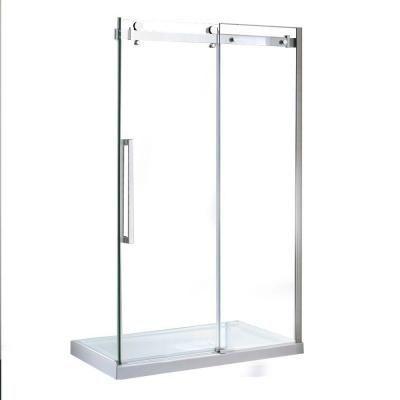 frameless sliding shower door in chrome with 48 in basesierra 48 shower kit the home depot