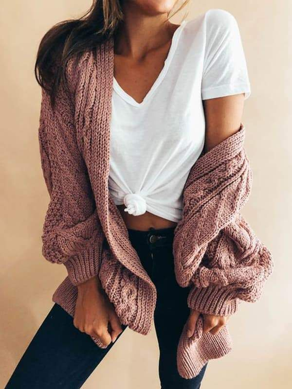 Chellysun Womens Long Open Front Cardigan Sweater strickt Outfits für das Hin und Her