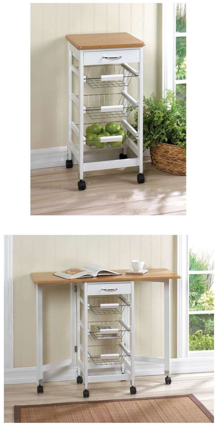 Kitchen Islands Kitchen Carts 115753: Small Kitchen Cart On Wheels Drop Leaf Side Table Storage Wire Baskets Rolling -> BUY IT NOW ONLY: $358.23 on eBay!