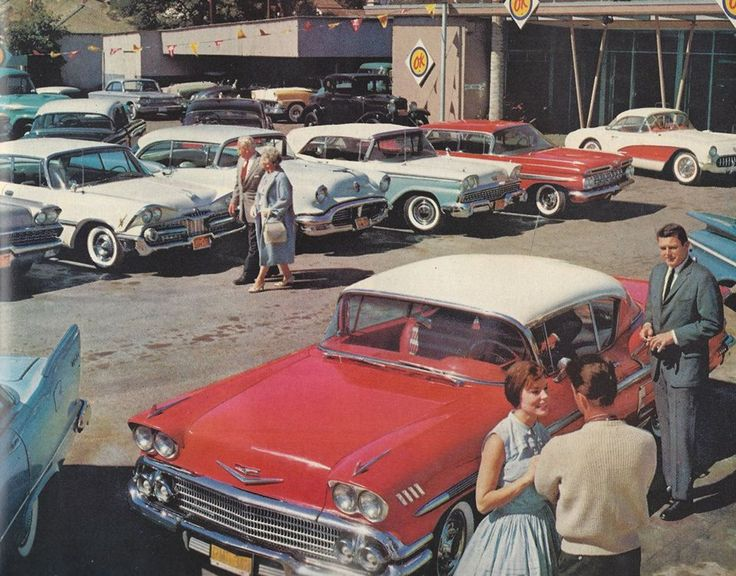 used cars on a Chevy dealer's lot circa 1959