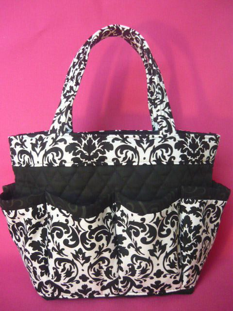 Damask black and white print Large  bingo bag great for craft and make-up organizer or diaper bag