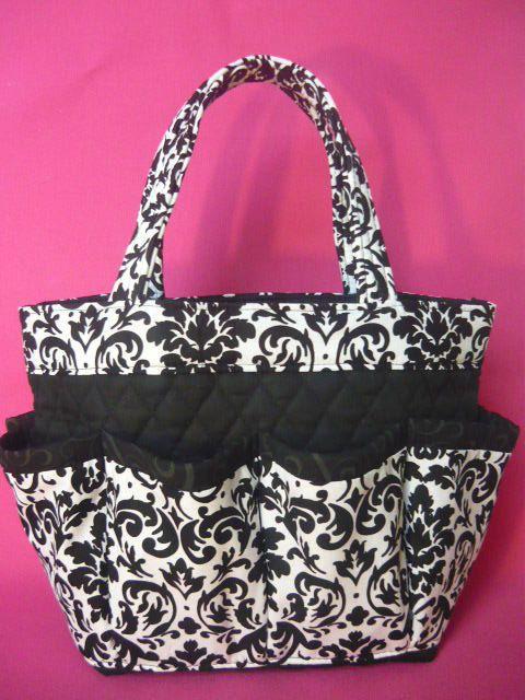 Damask  .black. white. print Large  bingo bag by sewtrendyrose, $22.00