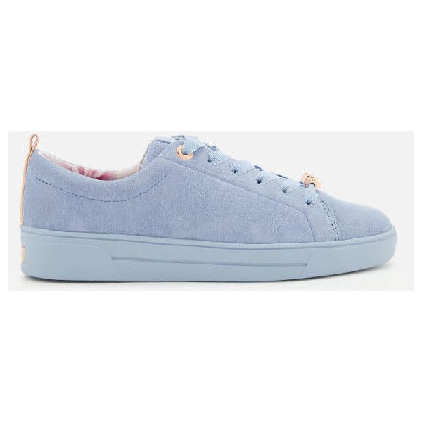 Ted Baker Women's Kelleis Suede Low Top Trainers ($140) ❤ liked on Polyvore featuring shoes, sneakers, blue, suede sneakers, low profile sneakers, fleece-lined shoes, ted baker sneakers and blue trainers