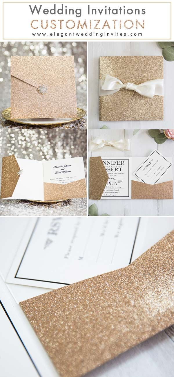 inexpensive wedding invitations with response cards%0A glamorous rose gold glittery pocket wedding invitation