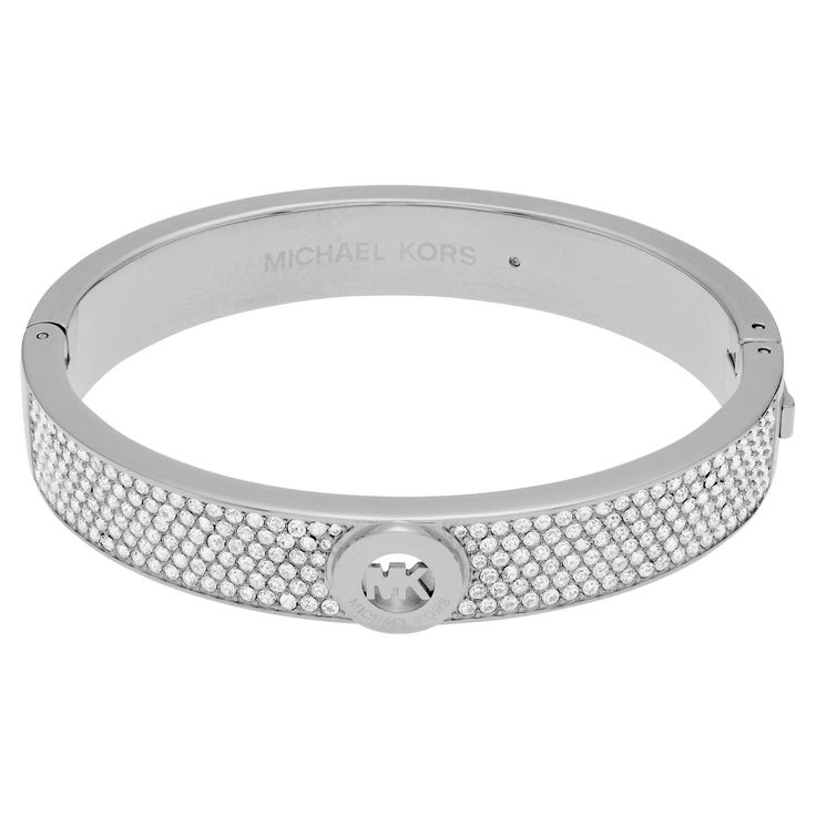 Michael Kors Silvertone Stainless Steel Crystal Pave Logo Hinged Bangle Bracelet (Silver)