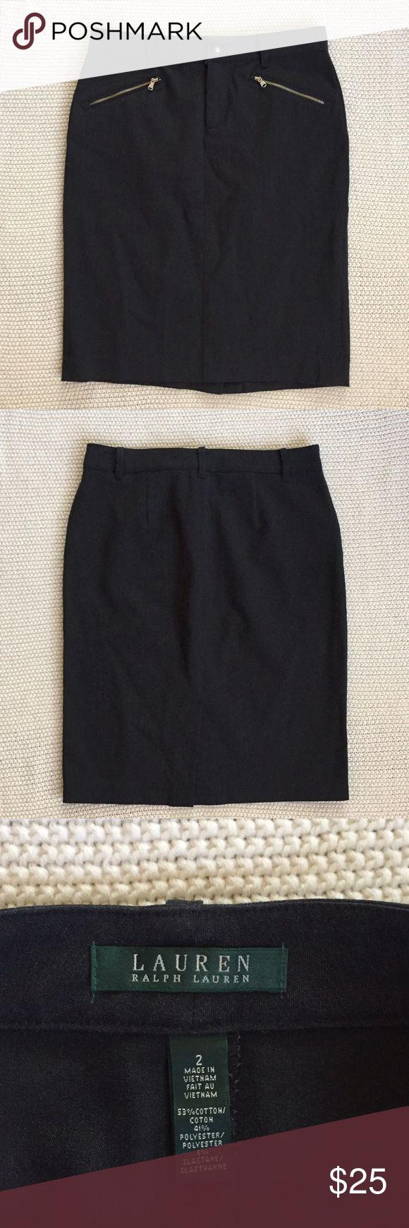 Ralph Lauren Pencil Skirt Charcoal gray pencil skirt with zipper pockets. 53% cotton, 41% polyester, 6% elastane. Lauren Ralph Lauren Skirts Pencil