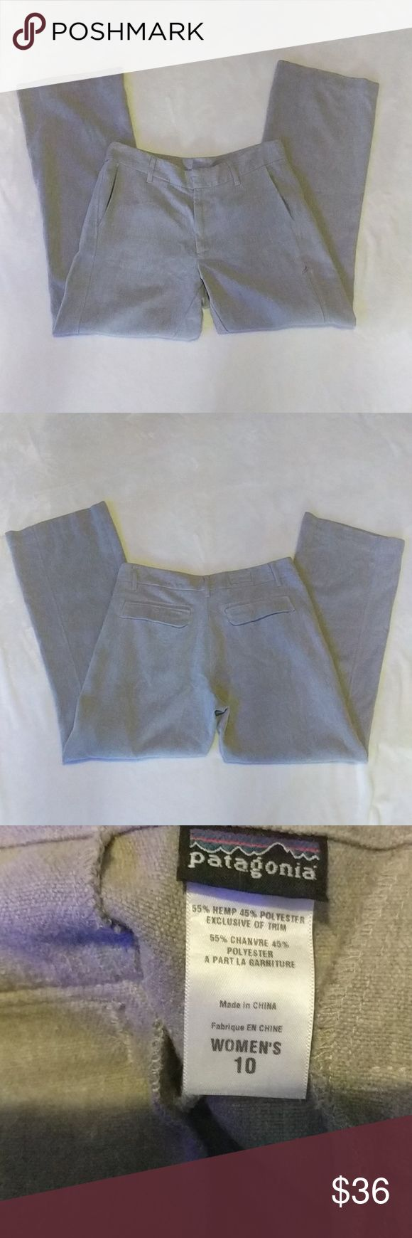 """Patagonia Gray Pants Patagonia Pants, 55 % Hemp, 45% Polyester, inseam 31"""", waist flat across is 16.5"""", front rise 10"""" Fabric feels like a heavy flannel, never worn, no tags Patagonia Pants Trousers"""