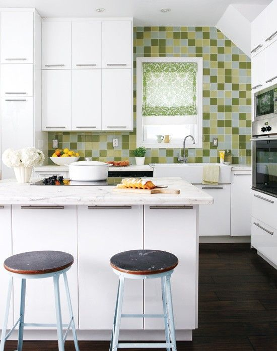 30 Amazing Design Ideas For Small Kitchens - Clean white lines with one bright color statement