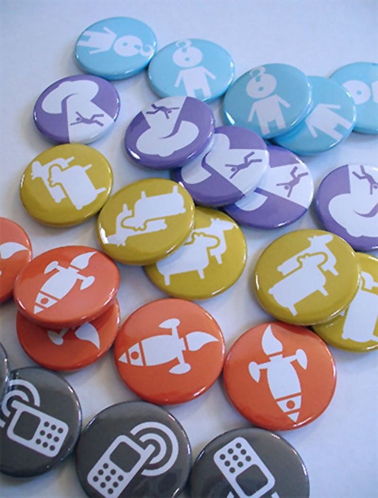 A bunch of cute custom badges we did. Order your own design or logo on button badges at