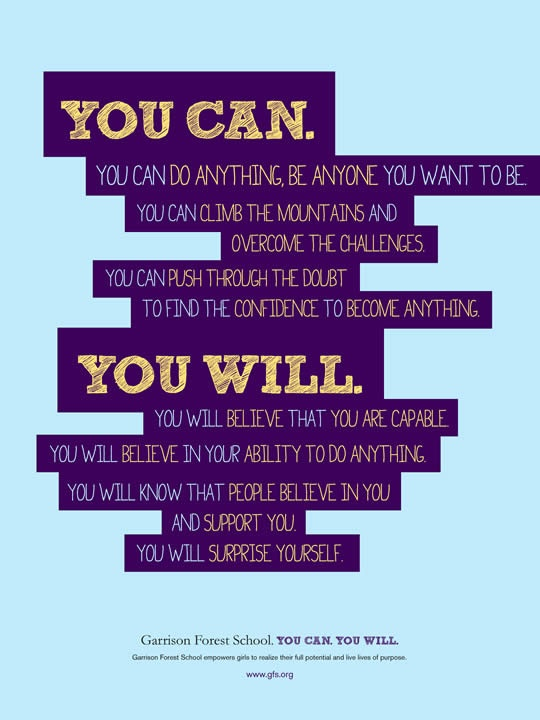 Garrison Forest School: You Can, You Will