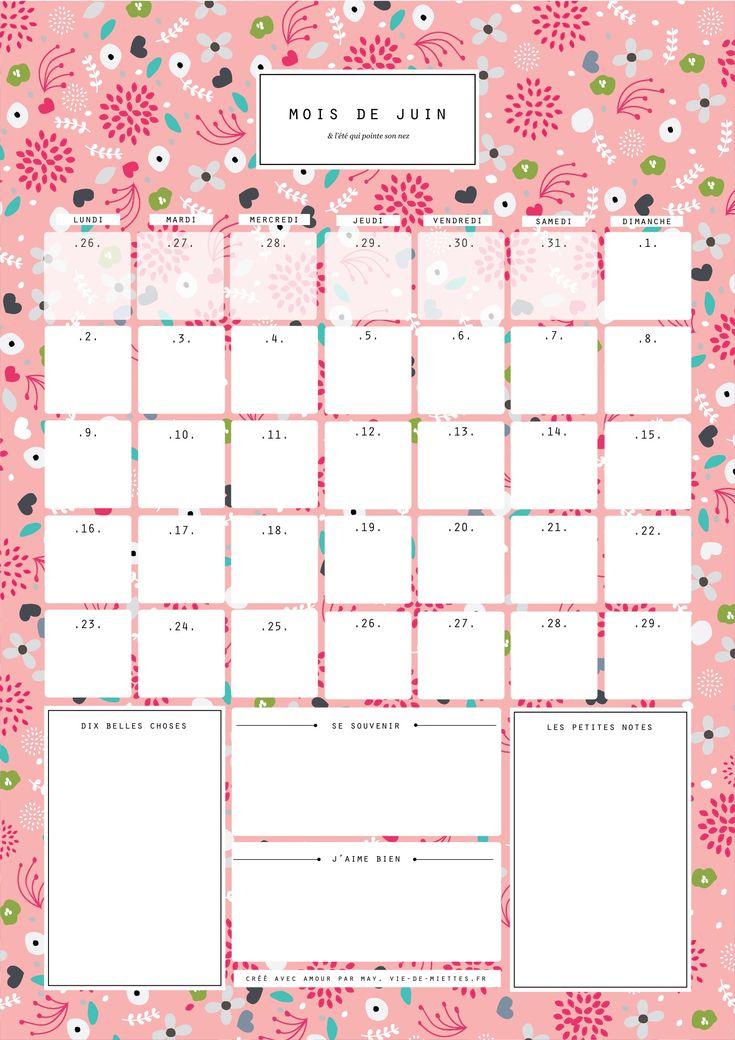 mois de juin à imprimer gratuitement printable calendriers juin 2016 ...