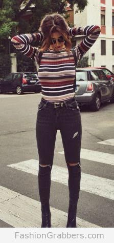Trendy fall outfit with long sleeves crop top! Check amazing outfit ideas for fall now!