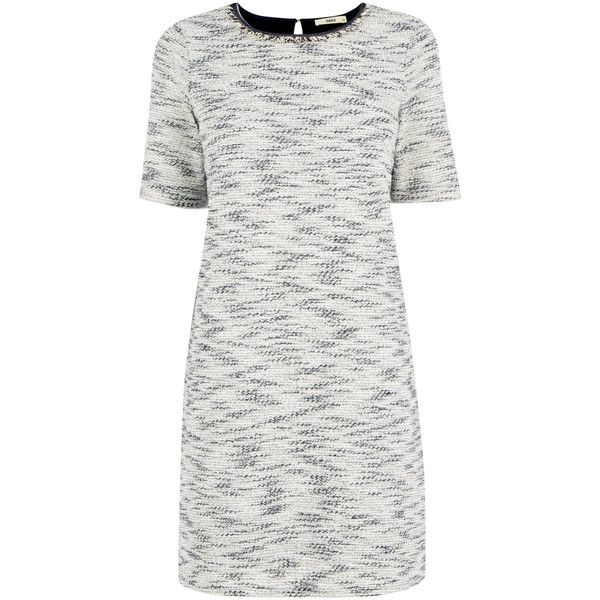 OASIS Fringed Tweed Dress found on Polyvore featuring dresses, blue, white tweed dress, tweed dress, shining dress, blue white dresses and shiny dress