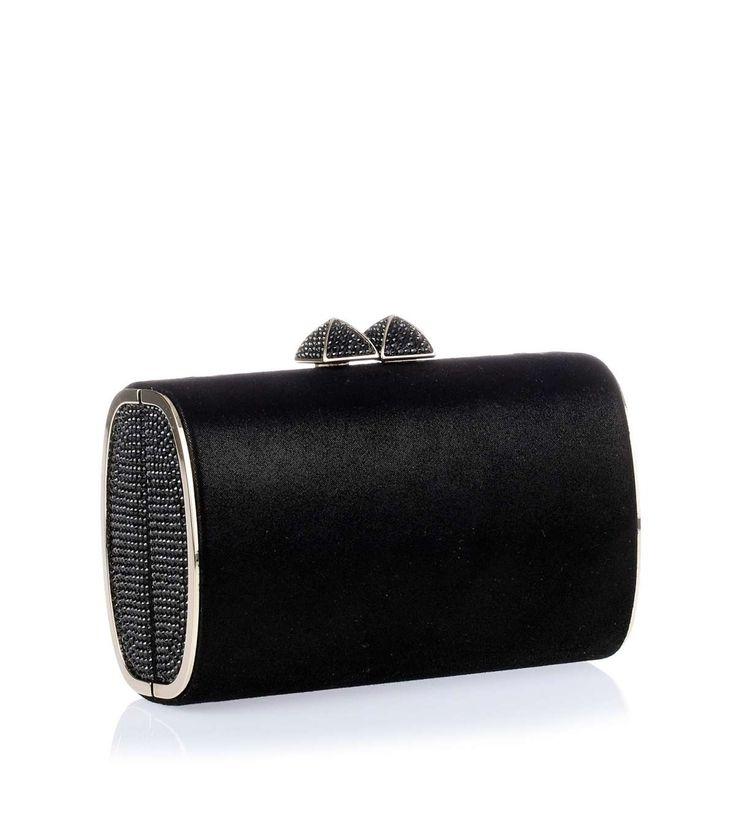 €538 - Jimmy Choo Minicharm black shimmer suede clutch