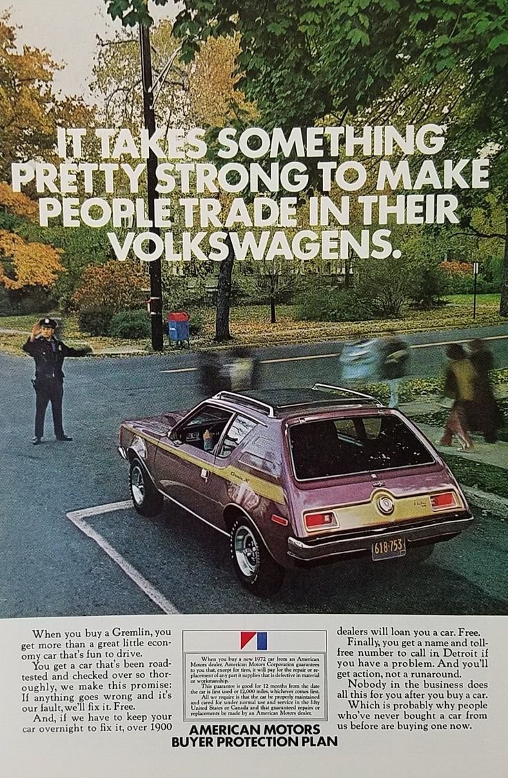 1970's AMC Gremlin Vintage Ad - Policeman Directing Traffic