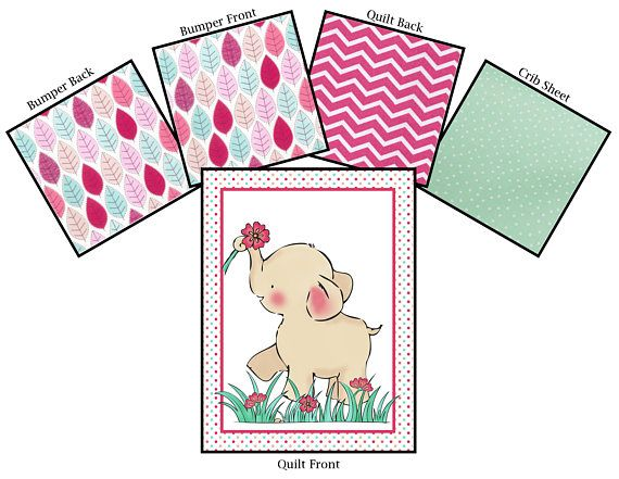 This beautiful coordinating girl elephant nursery bedding set consists of three pieces: a quilt featuring an elephant with pink flowers on the front and pink chevrons on the back, the bumper with pink and mint leaves on both side with grosgrain ribbon ties and a mint green polka dot sheet. All items are created from 100% cotton fabric, filled with 100% cotton wadding and made with lots of love. These items are made to order so please allow 2-4 weeks for production time.  For a 140 x 70 cm…